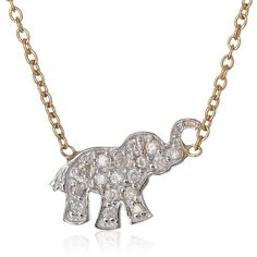Kacey K Mini Diamond Elephant Chain Necklace (1/10cttw, SI1-SI2... ($494) ❤ liked on Polyvore