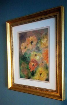Vintage Original Watercolor Painting of Daisies, Orange & Yellow Flowers, Signed by Artist, Vintage Home Decor, Wall Art  #daisies #gerberadaisies #flowers #watercolor #vintagepainting #yellow #orange #goldframe #framedart #homedecor #vintagedecor #mothersday #botanical