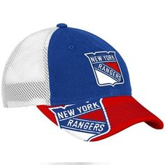 New York Rangers Blue 2012 Center Ice Official Team Slouch Stretch Fit Hat by Reebok. $24.95. Never be shy when showing off your team spirit with this New York Rangers Blue 2012 Center Ice Official Team Slouch Stretch Fit Hat. Brought to you by Reebok, this New York Rangers hat features embroidered graphics and mesh panels to provide ultimate comfort. Equip yourself with this stylish piece of Rangers team gear today.