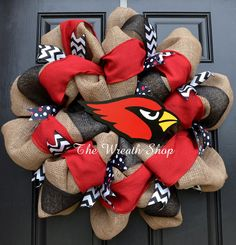 Burlap Arizona Cardinals Wreath by CreationsbySaraJane on Etsy