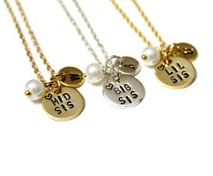 Lil Sis,Mid Sis & Big Sis necklace,Gift for Sisters,Hand Stamped Necklace, Personalized Necklace, Custom Gift, Initial Necklace, Sister Gift by BridesmaidsGiftNicol on Etsy