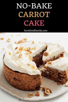 No-Bake carrot cake Kinds Of Desserts, No Bake Desserts, Dessert Recipes, Healthier Desserts, Easy Baking Recipes, Cookie Recipes, Vegan Recipes, Baked Carrots, Easy Sweets