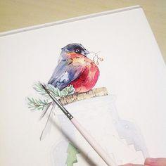 Приятных снов! А я за работу! #иллюстрация#illustration#art#artist#artwork#work#art_help#artgallery#art_we_inspire#topcreator#watercolor#watercolour#aquarelle#акварель#draw#drawing#paint#painting#misha_illustration#bird#winter