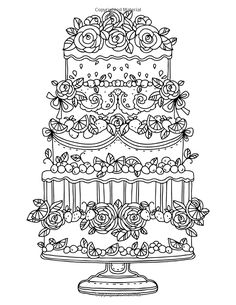 Free Printable Adult Coloring Pages Wedding Cake Art Coloring