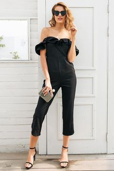 b06d26ad1e3 off shoulder backless black Tiered ruffle high waist jumpsuit romper  Playsuit