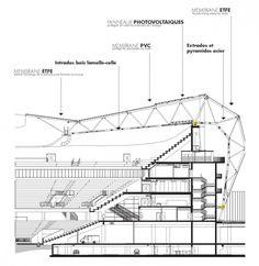 Gallery of Willmote Allianz Rivera / Wilmotte & Associés Sa - 51 Auditorium Architecture, Stadium Architecture, Roof Architecture, Architecture Drawings, Concept Architecture, Architecture Details, Space Frame, Construction Drawings, Architectural Section