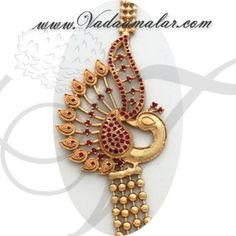 Peacock design side pendant step necklace chain mugappu for Sarees