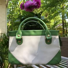 AUTHENTIC Kate Spade Belle Haven Collection Green and White Satchel - $110