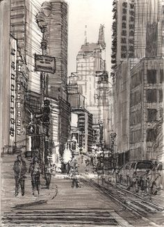 "Light in the Canyon, 57th and Broadway Urban Sketch 12x9"" graphite, pen and ink (Faber Castel Pitt Pens) walterlynnmosley.com"