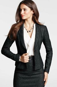 Skirt suit is essential for a polished office look.  (Gorgeous!  A look I would definitely wear if I could find this complete outfit)