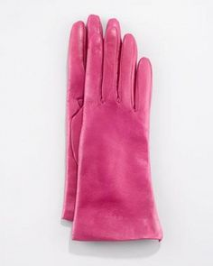 Portolano Two-Button Classic Gloves, Magenta by Portolano