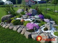 """The alpinarium (second name is «rock garden"""") is a popular element of landscape design; it is made from stone and unpretentious rock plants. The rock garden can Landscaping With Rocks, Front Yard Landscaping, Backyard Landscaping, Landscaping Ideas, Backyard Ideas, Rock Garden Design, Garden Landscape Design, Yard Design, Landscape Edging"""