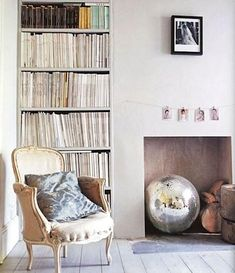 French Rococo armchair, all white living room with fireplace.add a bit of sparkle with an oversized disco ball. Decor, Room, Interior, Living Room White, Contemporary Interior, House Interior, Unused Fireplace, Interior Design, Amber Interiors Design