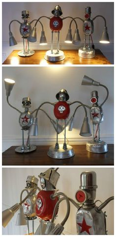 #Assemblage, #Industrial, #Lamp, #Metal, #Recycled, #Robot, #Sculpture, #Upcycled