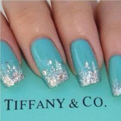 tiffany blue nails with glitter     Tiffany Nails  Source: weheartit