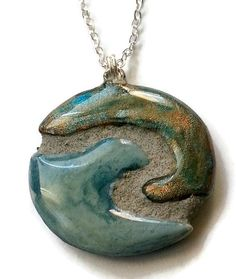#Ocean #Wave Mosaic Tile Reversible #Necklace by michemozaix.etsy.com