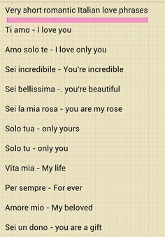 Learning Italian - Italian love phrases