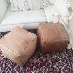 Square pouf handcrafted from natural, premium leather. Highly versatile -- can be used as a pouf for seating, foot rest, or ottoman.  Available in two