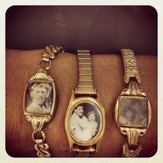 Upcycle vintage watches with photos, really love this idea. Kei leuk idee van oude horloges Kringloopwinkel Here I come xxx Locket Bracelet, Bijoux Diy, Upcycled Vintage, Repurposed, Diy Crafts Vintage, Vintage Watches, Antique Watches, Watch Bands, Diy Gifts