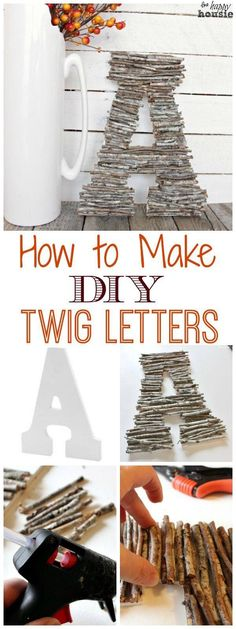 Monogrammed letters made out of twigs.