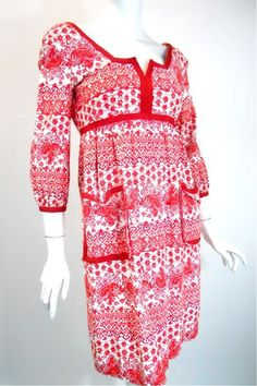 Red and White Toile Print Dress circa 1970s by Teal Traina