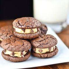 #RECIPE - Brownie Sandwich Cookies with Chocolate Chip Cookie Dough Frosting