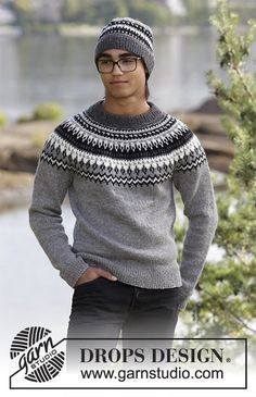 Dalvik - The set consists of: Men's knitted jumper with raglan, round yoke and multi-coloured Nordic pattern and knitted hat with multi-coloured Nordic pattern. Sizes S - XXXL. The piece is worked in DROPS Karisma. - Free pattern by DROPS Design Drops Design, Sweater Knitting Patterns, Knitting Designs, Fair Isle Knitting, Free Knitting, Nordic Sweater, Men Sweater, Raglan Pullover, Knitting Baby Girl