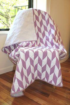 Baby Quilt in Purple Herringbone Pattern via Etsy