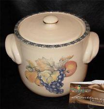 Home Garden Party 2003 ITALIAN FRUIT STONEWARE Covered Bean Pot Cream,Light  Tan