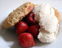 Strawberry Shortcake. I make with coconut butter, 1/2C whole wheat flour, and sliced strawberries. YUM!