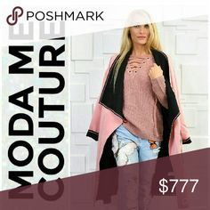 CHIC AND CLASSY JACKET Brand new Boutique item Price is firm  Chic and timeless waterfall front jacket featuring pink and black colors, pockets and belt. Wear open over the shoulders or cinch at waist with belt.   Modeled in a small MODA ME COUTURE Jackets & Coats