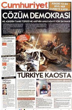 Gazete manşetleri 16 Temmuz 2016
