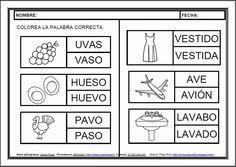 MATERIALES - Fichas de lectoescritura - V.    Fichas para el aprendizaje de la lectoescritura en letra mayúscula.    http://arasaac.org/materiales.php?id_material=983