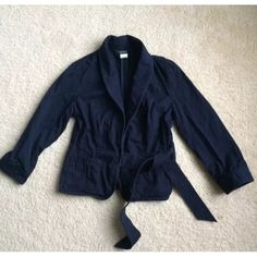 Navy blue J. CREW belted lightweight jacket • Navy blue J. Crew side belted jacket • side belt closure • two chest pockets,  • 2 front pockets • Size 4 • Excellent condition • fast shipping J. Crew Jackets & Coats