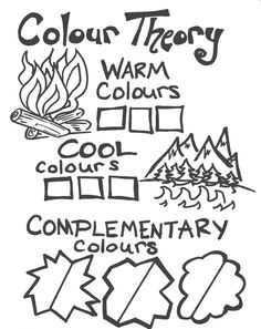 Interactive worksheet to learn about and demonstrate warm cool complementary and analogous colours. Additionally Students use their Colour Wheels to transition between primary secondary and tertiary colours. The blank workbook is attached as a PDF. High School Art, Middle School Art, Primary School Art, Color Art Lessons, Colour Theory Lessons, Art Handouts, 4th Grade Art, Art Worksheets, Ecole Art