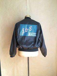 vintage 1980's black nylon windbreaker old school logo wt mechanics jacket garage shop jacket by yellowjacketvintage on Etsy