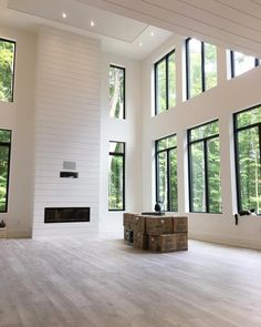 """""""One of the choices we made when we designed this house was that we didn't build any """"unused"""" rooms . We have one living room. Dream Home Design, My Dream Home, Home Interior Design, House Design, Home Living Room, High Ceiling Living Room, Living Room Windows, Great Rooms, Future House"""