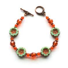 Handmade Beaded Bracelet Czech Glass Hibiscus Flower Swarovski Crystal Carnelian Gemstone Copper Butterfly Clasp