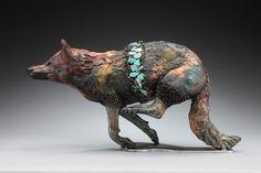 raku wolf sculpture