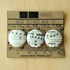 Items similar to Sheet Music Magnets Made From Vintage Sheet Music Handmade by Minor Thread on Etsy Vintage Sheet Music, Vintage Sheets, Sheet Music Crafts, Mini Magnets, Ways To Recycle, Upcycled Crafts, Different Patterns, Book Crafts, Craft Gifts