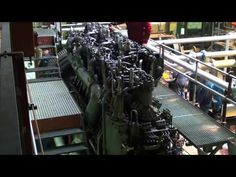MAN F6V35 World War 1 U-boat diesel engine load run - YouTube