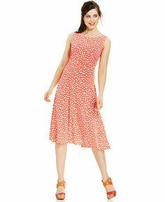 Jessica Howard Polka-Dot-Print Tea-Length Dress - Dresses - Women - Macy's