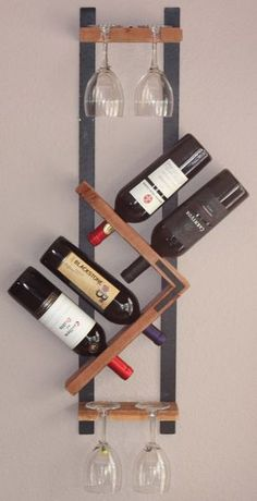 Wood Wine Rack - 4 Bottle 4 Glasses Handmade Wall Mount Display
