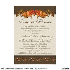 Red and brown Autumnal leaves Rehearsal Dinner