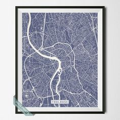 TOULOUSE, FRANCE STREET MAP PRINT by Voca Prints! Modern street map art poster with 42 color choices. Perfect for anyone who loves to travel or is away from home.
