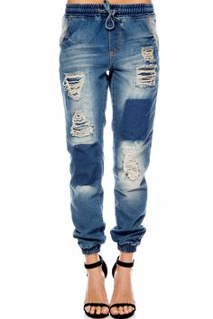 DESTROYED/Patched DRAWSTRING DENIM JOGGER at Amazon Women's Clothing store: