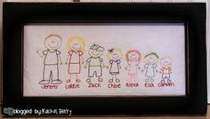 Have the kiddos draw a picture of themselves then hand embroider to create a family portrait. A special gift for the grandparents.