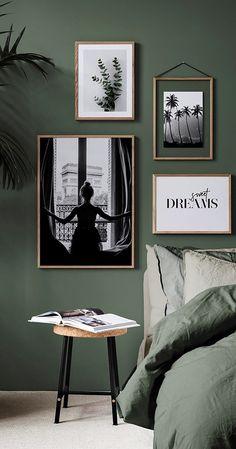 Green in the bedroom is the trend of On the wall or .- Grün im Schlafzimmer ist der Trend von An der Wand oder auf Ihrem Bett ist … – Wohnaccessoires Green in the bedroom is the trend of On the wall or on your bed is … - Green Rooms, Bedroom Green, Green Walls, Bedroom Inspo, Home Decor Bedroom, Green Bedding, New Room, Room Inspiration, Home Accessories