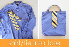 Turn a Men's Shirt/Tie into a Tote Tutorial Mens Shirt And Tie, T Shirt, Dress Shirt, Shirt Bag, Baptism Gifts For Boys, Boy Baptism, Homemade Kids Gifts, Tote Tutorial, Tutorial Sewing