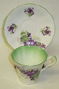 Adderley England Bone China VIOLETS Cup and Saucer